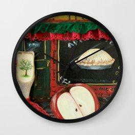 Pie Hole, Apple Pie, Mixed Media Art, by Faye Wall Clock