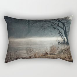 Morning fog, river and sunrise Rectangular Pillow