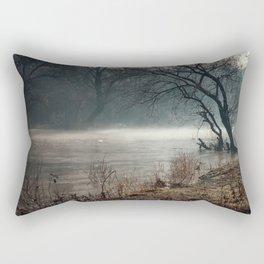 Morning fog, river and sunrise Rectangular Pillow