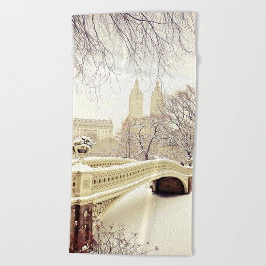 New York City Snow Wonderland Beach Towel