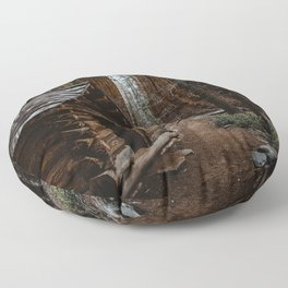 Log Cabin in the Giant Forest Floor Pillow