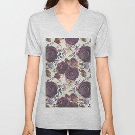 Pastel burgundy violet pink watercolor roses floral Unisex V-Neck