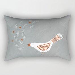 Scandinavian Bird with Hearts Rectangular Pillow