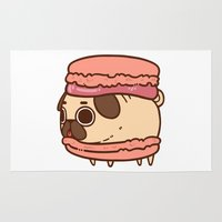 macaron Area & Throw Rugs featuring Puglie Macaron by Puglie Pug