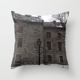 Old Montreal Stone Architecture Throw Pillow