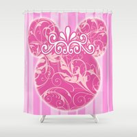 minnie mouse Shower Curtains featuring Minnie Mouse Princess Pink Swirls by Whimsy and Nonsense