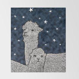 Alpacas on a starry night Throw Blanket