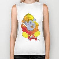 ganesh Biker Tanks featuring Ganesh  by xDiNKix