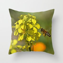orchard bee Throw Pillow