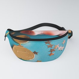 Piggy Bank On The Background With The Chocoladen Coins Fanny Pack