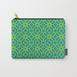 Art Deco Pattern Teal / Yellow Carry-All Pouch