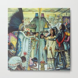 The Meeting of Monteczuma, Malinche, & Cortés 1521, Tenochtitlán by Diego Rivera Metal Print