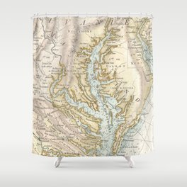 Vintage Map of The Chesapeake Bay(1778) 2 Shower Curtain