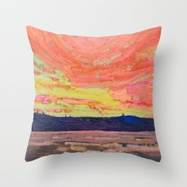 Tom Thomson - Sunset - Canada, Canadian Oil Painting - Group of Seven Throw Pillow