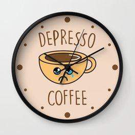 Depresso Coffee, Funny, Quote, Coffee Wall Clock