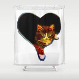 Cat Heart Shower Curtain