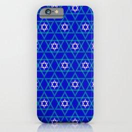 Hanukkah Star of David Pattern in Elegant Blue iPhone Case