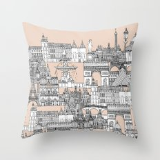 Paris toile sugar pink Throw Pillow