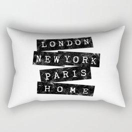 LONDON, NEW YORK, PARIS, HOME Rectangular Pillow