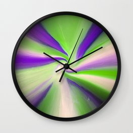 Green and Purple Abstract Art Wall Clock