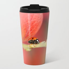 Ladybug On An Autumn Leaf Travel Mug
