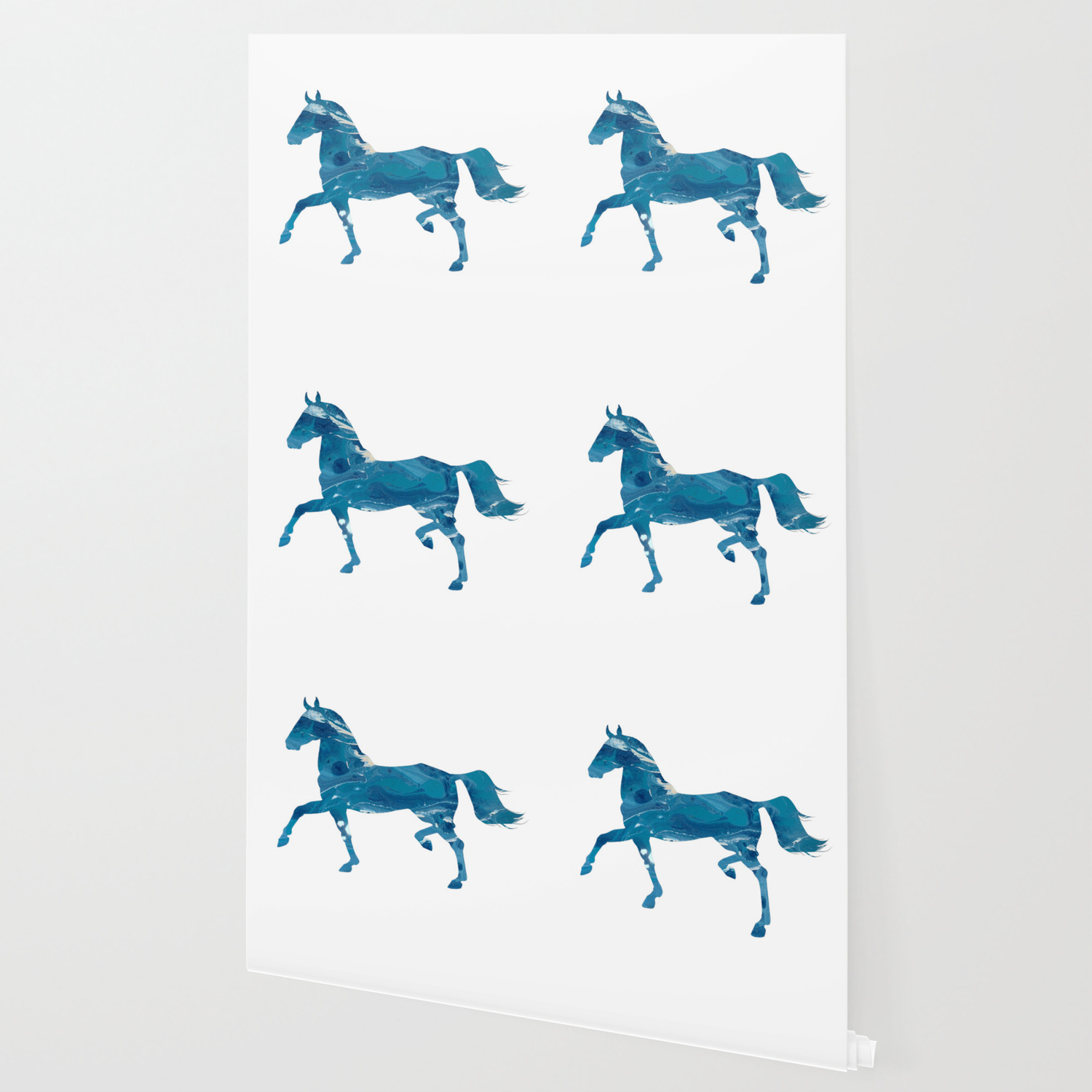 Light Blue Marble Akhal Teke Horse Silhouette Wallpaper By Luxehurricane Society6