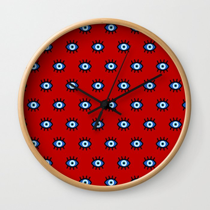 Evil Eye on Red Wall Clock