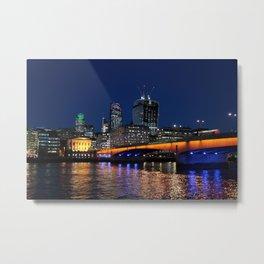 "City of London skyline at night; Modern ""Walki Talki"" skyscraper with cranes on the roof  Metal Print"