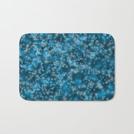 Turquoise Blue Field of Stars Bath Mat