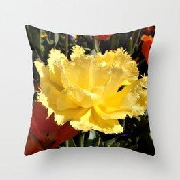 Happy Yellow Tulip Throw Pillow