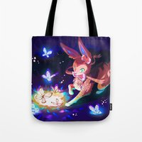 sylveon Tote Bags featuring Sylveon by Katie O'Meara