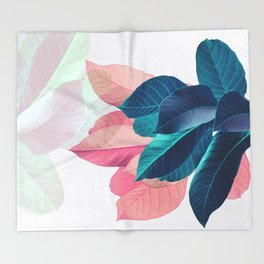 Pink and Blue Leaf Throw Blanket