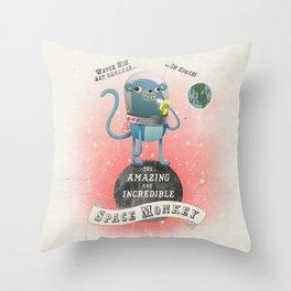 space monkey cream Throw Pillow