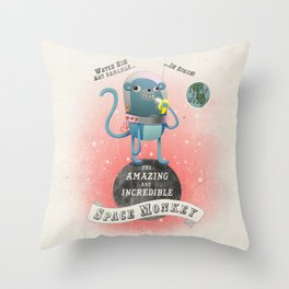 space monkey cream Throw Pillow