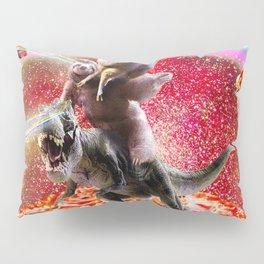 Laser Eyes Space Llama On Sloth Dinosaur - Rainbow Pillow Sham
