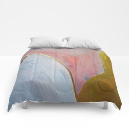 Bliss: A pretty, minimal, abstract mixed-media piece in pink white and gold by Alyssa Hamilton Art Comforters
