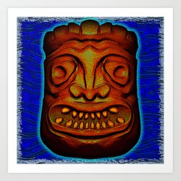 Tiki Tile Red Brown Art Print