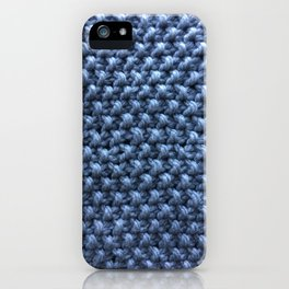 Blue knitting pattern iPhone Case