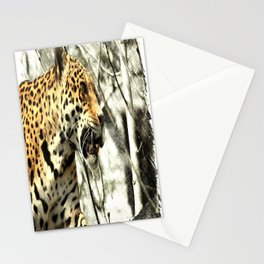 tree branch african safari animal leopard Stationery Cards