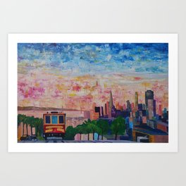 San Francisco Cable Car With Skyline and Bay Art Print