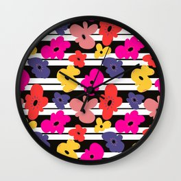 Stripes and funky poppies Wall Clock