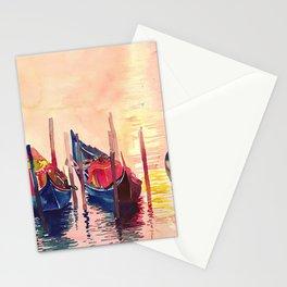 Gondolas parking Venice Stationery Cards