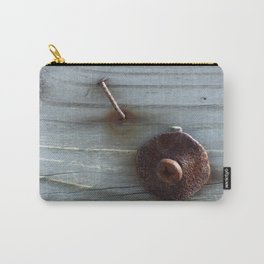 Rusty Nail, Washer and Screw in Wood Carry-All Pouch