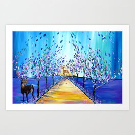 Deer in a Wood Art Print