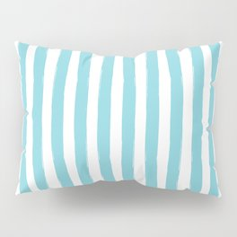 Ocean Blue and White Cabana Stripes Palm Beach Preppy Pillow Sham