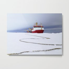 Arrival of the RRS Ernest Shackleton near Halley Research Station in Antarctica January 2013 Metal Print