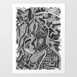 Wandering 44: grayscale Art Print