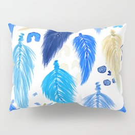 Watercolor Macrame Feathers + Dots in Blue Rainbow Pillow Sham