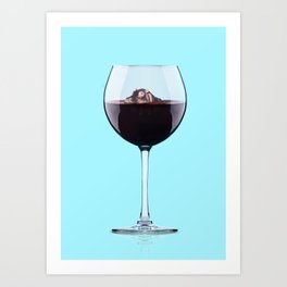 Hippo in Wine Art Print