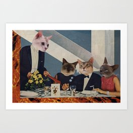 Cats Dine Art Print